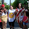 ALLEGRA BOVERMAN/Staff photo. Gloucester Daily Times. Gloucester: Getting ready for the Fishtown Horribles Parade on Tuesday evening are, from left: Rachelyn Salah, Samantha Alves, Torrie Asaro, Brittany Salah and her daughter Samahra Salah, 5.