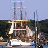 "ALLEGRA BOVERMAN/Staff photo. Gloucester Daily Times. Gloucester: The Tall Ship Picton Castle was holding a two-night overnight and is being hosted by the Gloucester Marine Railways. Viking Gustafson, the general manager of the Marine Railyways, said that they made room and rearranged a few things and said, ""we are proud to have them here."" The ship was holding a private event onboard on Friday evening and will depart on Saturday."