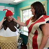 ALLEGRA BOVERMAN/Staff photo. Gloucester Daily Times. Gloucester: Getting ready for the Fishtown Horribles Parade set for Tuesday evening are, from left: Samantha Alves and Brittany Salah. They and a few others will march wearing funny food-related costumes, representing George's Coffee Shop and Salah's Scoops.