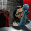 "Allegra Boverman/Staff photographer. Gloucester Daily Times. Gloucester: Roxie Myhrum, artistic director of the Puppet Showplace Theatre of Brookline, gave a puppeteering workshop at the Gloucester Stage Company's Youth Acting Workshops on Friday. She also coached the actors in the GSC's current production of ""Carnival."" Workshop participant Olivia Smith, 10, works with her puppet."
