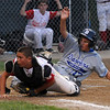 Gloucester:Danvers's Joe Nicolo slides safely home as Gloucester catcher Marc Smith watches the throw go wide during Gloucester's 13-3 loss to Danvers in the Distict 15 Championship Saturday night at Harry Ball Field in Beverly. Jim Vaiknoras/staff photo