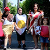 ALLEGRA BOVERMAN/Staff photo. Gloucester Daily Times. Gloucester: Getting ready for the Fishtown Horribles Parade set for Tuesday evening are, from left: Rachelyn Salah, Samantha Alves, Torrie Asaro, Brittany Salah and her daughter Samahra Salah, 5.