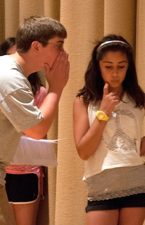 """Gloucester:Ben St Cyr and Rebecca Pollock  rehearse """"Us and Them"""" at  the O'Maley Middle School Performing Arts Dept. Drama Camp  which will be performed Friday free of charge at the school. Jim Vaiknoras/staff photo"""