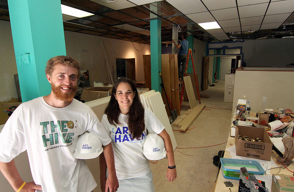 ALLEGRA BOVERMAN/Staff photo. Gloucester Daily Times. Gloucester: <br /> David Brooks, left, volunteer and president of the board of trustees, and Dawn Gadow, executive director of Cape Ann Art Haven, inside the new Hive community arts center on Pleasant Street. They are in the pottery studio area.