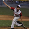 Beverly:  Gloucester pitcher Eric Chalmers fires on in during his teams 4-3 win over Manchester at Harry Ball Field in Beverly. Jim Vaiknoras/staff photo