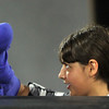 "Allegra Boverman/Staff photographer. Gloucester Daily Times. Gloucester: Roxie Myhrum, artistic director of the Puppet Showplace Theatre of Brookline, gave a puppeteering workshop at the Gloucester Stage Company's Youth Acting Workshops on Friday. She also coached the actors in the GSC's current production of ""Carnival."" Workshop participant Christina Speros, 11, works with her puppet."