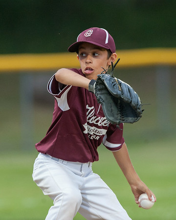DESI SMITH/Staff photo.    Gloucester National's pitcher Jake Mortillaro throws against M/E in the first inning in a Little League game held at Boudreau Field Wednesday night.<br />   July 2,2014