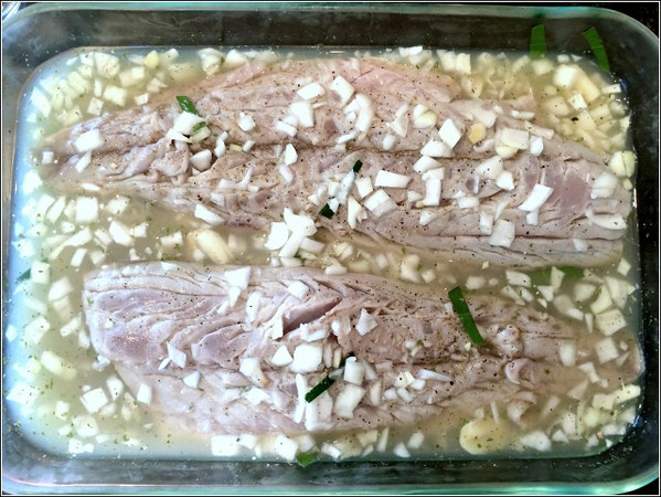 "Heather Atwood/Special to the Times<br /> Very fresh bluefish marinates in Vinha D'Alhos or ""wine of garlicfor an hour before going on the grill."