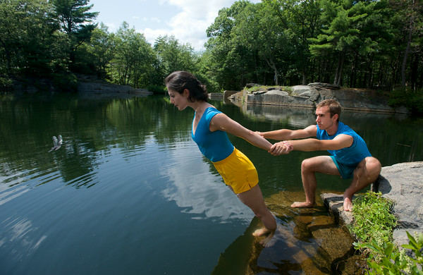 RYAN HUTTON/ Staff photo.<br /> Alexandra Berger is balanced on the very edge of Deep Pit Quarry by Samuel Swanton during rehearsal for a performance sponsored by the Windhover Center for the Performing Arts this weekend.
