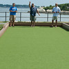 DESI SMITH/Staff photo.   From left to right, Sal Zerrilli of Rockport, Keith Palazzola of Gloucester and Serge Cava from Canada, play a game of Bocce,<br />   along the boulevard saturday afternoon.  July 26,2014