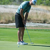 Desi Smith Photo.  George Mead putts on a par 4 hole 4 in the Bass Rocks Club Championship Sunday morning at Bass Rocks.    July 24,2016
