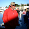 PAUL BILODEAU/Staff photo. Navy Veteran Butch Marquis of West Springfield talks with Dave Marciano of Wicked Tuna prior to heading out fishing. Marciano and Tom Orrell of the Yankee Fleet hosted a fishing trip to benefit the Wounded Warrior Project.