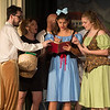 Desi Smith Photo.    From left to right, Bookseller (Aedan McCarthy), Egg Lady (Seania McCarthy), Silly Girls (Emily Frick, Chloe Beaulieu) act out a scene in Beauty and the Beast during a dress rehearsal Thursday night at Annisquam Village Hall.  Performances start August 9-14, 2016 @7:30 pm at the Annisquam Village Hall at 34 Leonard Street, Gloucester.   Aug 4,2016