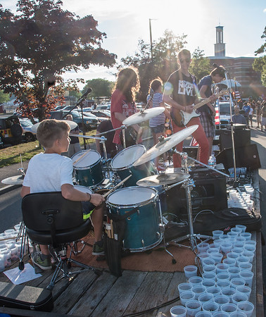 Desi Smith Photo.     The band Welcome Mat,made up from five young band members, rock on as they head out on the parade route from Gloucester High School in the Fishtown Horribles Parade Sunday afternoon.     July 3,2016