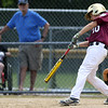 DAVID LE/Staff photo. Gloucester's Zach Oliver lines an RBI double against Masco. 7/2/16.