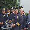 Kery Murakami/Staff photo<br /> Gloucester police Chief Leonard Campanello speaks to the press Wednesday outside the White House, where he and 17 other law enforcement leaders met with Obama administration officials about funding for programs to fight opioid addiction. Gloucester police Lt. David Quinn, left of Campanello, also attended the meeting.