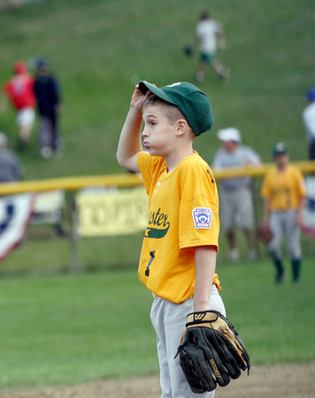 Manchester Essex pitcher Parker Edington tries not to look as Peabody West pitcher Matt Hosman hits a home run during the first at bat of their game in the District 15 Little League All-Star Tournament at Stage Fort Park last night. Photo by Kate Glass/Gloucester Daily Times Monday, June 29, 2009