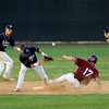 Lowell: Gloucester's Dylan Maki steals second base as St. John's Prep's Derek DuBois misses the throw in the Division I North Championship at LeLacheur Park in Lowell on Saturday night. Photo by Kate Glass/Gloucester Daily Times Saturday, June 6, 2009
