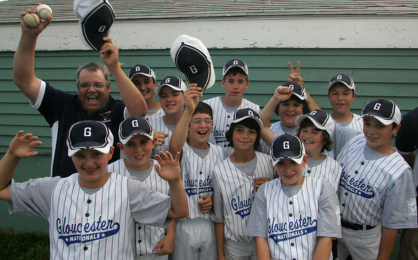 Gloucester: The Gloucester Nationals pose for pictures after winning the Gloucester American vs. Gloucester National Little League game Saturday afternoon at Boudreau Field. Mary Muckenhoupt/Gloucester Daily Times