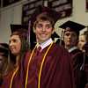 Rockport: Class Vice President Jacob Moss smiles to his 2009 classmates during Rockport High School graduation at the high school Friday night. Desi Smith/Gloucester Daily Times