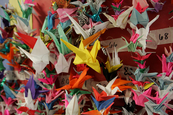 """Gloucester: Students at West Parish Elementary School made 1,000 paper cranes while learning the history of Hiroshima and reading """"Sadako and the Thousand paper Cranes,"""" a story about a girl making 1,000 paper cranes to save her friend who became sick after being exposed to the radiation of the atomic bomb. Kazue Campbell, who 13 years old and living near Hiroshima when the bomb was dropped, also came to speak to the fifth grade Thursday. Mary Muckenhoupt/Gloucester Daily Times"""