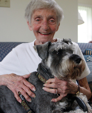 Rockport: Myra Bristol who lives at Pigeon Cove Ledges is happy to have her beloved dog Spenser-for-Hire home safe after he ran away Sunday night and was found Monday. Mary Muckenhoupt/Gloucester Daily Times
