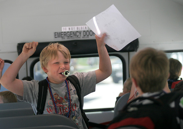 Rockport: Patrick Kern, a third grader at Rockport Elementary School, raises his arms in celebration as he boards the bus on the last day of school yesterday. Photo by Kate Glass/Gloucester Daily Times Tuesday, June 16, 2009