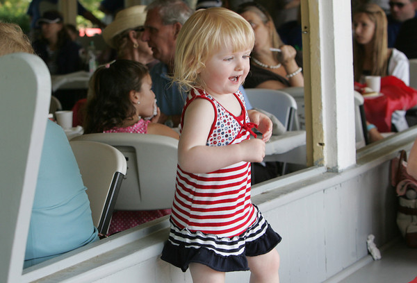 Manchester: Reiltin McDonnell, 2, dances as Gid's Giddy Gang plays Dixieland jazz at the 19th annual Red, White and Blue Breakfast put on by the Manchester Essex Rotary at Tuck's Point Saturday morning. Mary Muckenhoupt/Gloucester Daily Times
