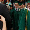 Manchester: Spencer Lange walks in the the gymnasium with the class of 2009 during graduation at Manchester Essex High School Friday evening. Mary Muckenhoupt/Gloucester Daily Times