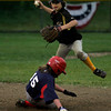 Gloucester: Conor Paris of the Pirates tags second base as Colby Ferris of the Indians slides into him during the Gloucester Little League World Series at Boudreau Field last night. Photo by Kate Glass/Gloucester Daily Times Tuesday, June 23, 2009