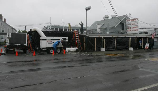 """Essex: The film crew for """"Grown Ups"""" works on the set at Woodman's in Essex yesterday as they shoot inside the restaurant. Photo by Kate Glass/Gloucester Daily Times Tuesday, June 23, 2009"""