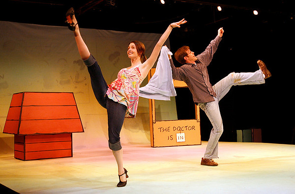 "Gloucester: Katie Mulholland as Sally and David Krinitt as Linus dance around Linus' blanket as they rehearse for ""You're A Good Man, Charlie Brown,"" which will be at Gloucester Stage starting tonight through June 21st. Photo by Kate Glass/Gloucester Daily Times Tuesday, June 2, 2009"