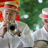 "Manchester: George ""Gid"" Loring plays the cornet with Gid's Giddy Gang who provided Dixieland jazz for the 19th annual Red, White and Blue Breakfast put on by the Manchester Essex Rotary Club at Tuck's Point Saturday. Mary Muckenhoupt/Gloucester Daily Times"