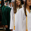 Manchester: Hannah Dumont walks in the the gymnasium with the class of 2009 during graduation at Manchester Essex High School Friday evening. Mary Muckenhoupt/Gloucester Daily Times