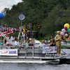 "Essex: A boat decorated for the movie ""Grown Ups"" filming in Essex participates in the annual Forth of July boat parade around Chebacco Lake as seen from Camp Menorah in Essex Saturday afternoon.   Mary Muckenhoupt/Gloucester Daily Times"
