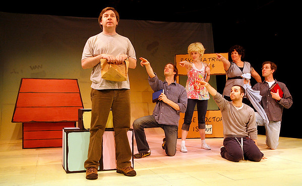 """Gloucester: Clockwise from left: Stephen Gagliastro as Charlie Brown, Arlo Hill as Schroeder, Katie Mulholland as Sally, Mary Callanan as Lucy, David Krinitt as Linus, and David Sharrocks as Snoopy all star in Gloucester Stage Company's production of """"You're A Good Man, Charlie Brown,"""" which opens tonight and runs through June 21st. Photo by Kate Glass/Gloucester Daily Times Wednesday, June 2, 2009"""