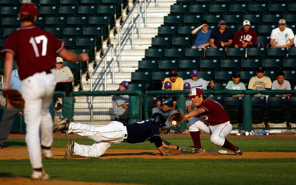 Lowell: Gloucester pitcher Dylan Maki throws to first baseman Trevor Curley to catch St. John's Prep's John Vigliotti off the base during the Division I North Championship at LeLacheur Park in Lowell on Saturday night. Photo by Kate Glass/Gloucester Daily Times Saturday, June 6, 2009