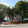 Rockport: Ongoing renovation of the Community House is on schedule according to public works officials, however one of the two trees in front of the building may have to come down. Municipal projects, such as the Community House, will be discussed at a selectmen's workshop tonight. Photo by Kate Glass/Gloucester Daily Times