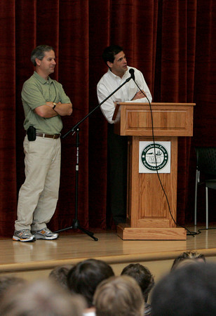 Manchester: Former Bruin's player Don Sweeney answers a question from the crowd while speaking at Manchester Essex Regional High School Thursday afternoon.  Sweeney spoke to students about the importance of students caring and being responsible for one another. Also pictured is Assistant Principal Paul Murphy. Mary Muckenhoupt/Gloucester Daily Times