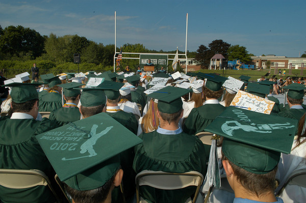 Manchester: Manchester Essex Assistant Principal Paul Murphy addresses members of the class of 2010 during the school's graduation ceremony at Ed Field Field. Photo by Desi Smith/Gloucester Daily Times