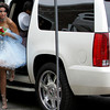 Gloucester: Rachel Johnson steps out of her limo ahead of her date Christian Hernandez as they arrive at Gloucester High School for their promenade Thursday evening. Mary Muckenhoupt/Gloucester High School