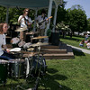 Manchester: The Rupert Selection plays at Masconomo Park at a concert put on by the Green Team at Manchester Essex High School to thank students for their environmental activism Friday afternoon.  The event featured live music from different bands and free ice-cream donated by Down river Ice Cream in Essex. Pictured is Zak Brown of drums, Peter Crofton on bass and Reilly Somach on lead guitar, right. Mary Muckenhoupt/Gloucester Daily Times