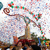 Gloucester: Confetti is blown over Our Lady of Fatime statue and onto the corwd in front of St. Peter's Club at the end if Sunday's Fiesta procession. Mary Muckenhoupt/Gloucester Daily Times