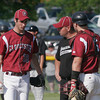 Gloucester: Gloucester Coach Joe Orlando talks with pitcher Shawn Hull and catcher Brett Cahill at the mound as they play Wayland in the first round of the MIAA Division 2 North Baseball Tournament at Nate Ross Field yesterday afternoon. Photo by Kate Glass/Gloucester Daily Times