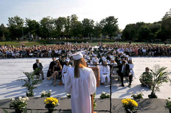 Manchester: Class President Kara Thomas delivers her speech during the Manchester Essex Regional High School graduation ceremony at Ed Field Field. Photo by Desi Smith/Gloucester Daily Times