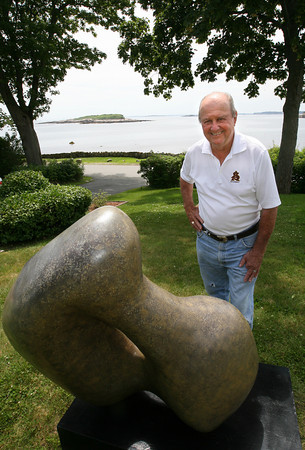 "Gloucester: Local sculptor Charles Fields, shown here next to one of his sculptures that was at the Rockport Art Association, recently wrote a memoir, ""Many Lands Many Hearts."" Photo by Kate Glass/Gloucester Daily Times"