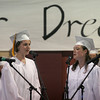 "Rockport: Kristina Levick, Sarah Brisson, Colleen Hansbury, and Gillian Hurst received a standing ovation for their performance of ""Here Comes the Sun"" during Rockport High School's graduation ceremony last night. Photo by Kate Glass/Gloucester Daily Times"