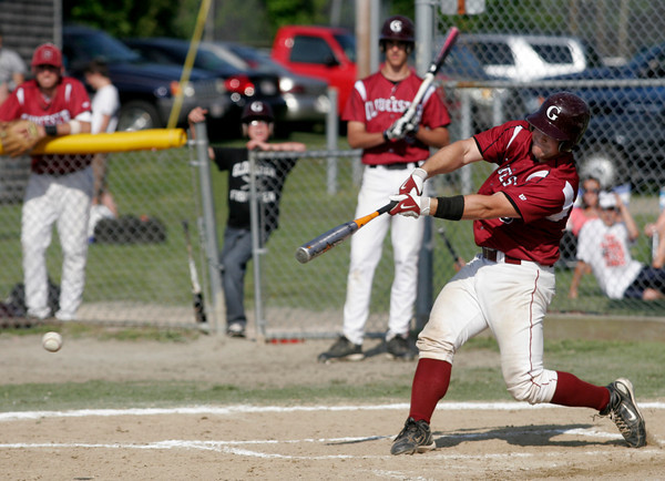 Gloucester: Gloucester catcher Brett Cahill hits a triple against Wayland in the first round of the MIAA Division 2 North Baseball Tournament at Nate Ross Field yesterday afternoon. Photo by Kate Glass/Gloucester Daily Times