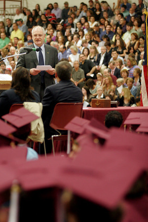 Gloucester: Christopher Farmer, Gloucester Superintendent of Schools, addresses the Gloucester High School Class of 2010 during their graduation ceremony in the Benjamin A. Smith Fieldhouse yesterday afternoon. Farmer will be moving to the Triton Regional School District next year. Photo by Kate Glass/Gloucester Daily Times