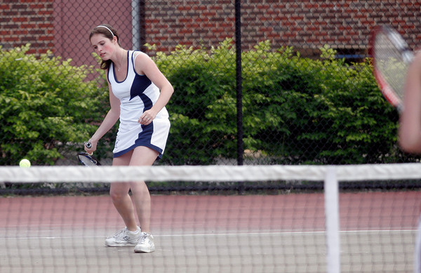 Gloucester: Triton's Molly Fargeorge filled in for Lauren Mihalchik at first singles during the Quarter Finals of the MIAA Division 2 North Tennis Tournament at Gloucester High School yesterday afternoon. Photo by Kate Glass/Gloucester Daily Times